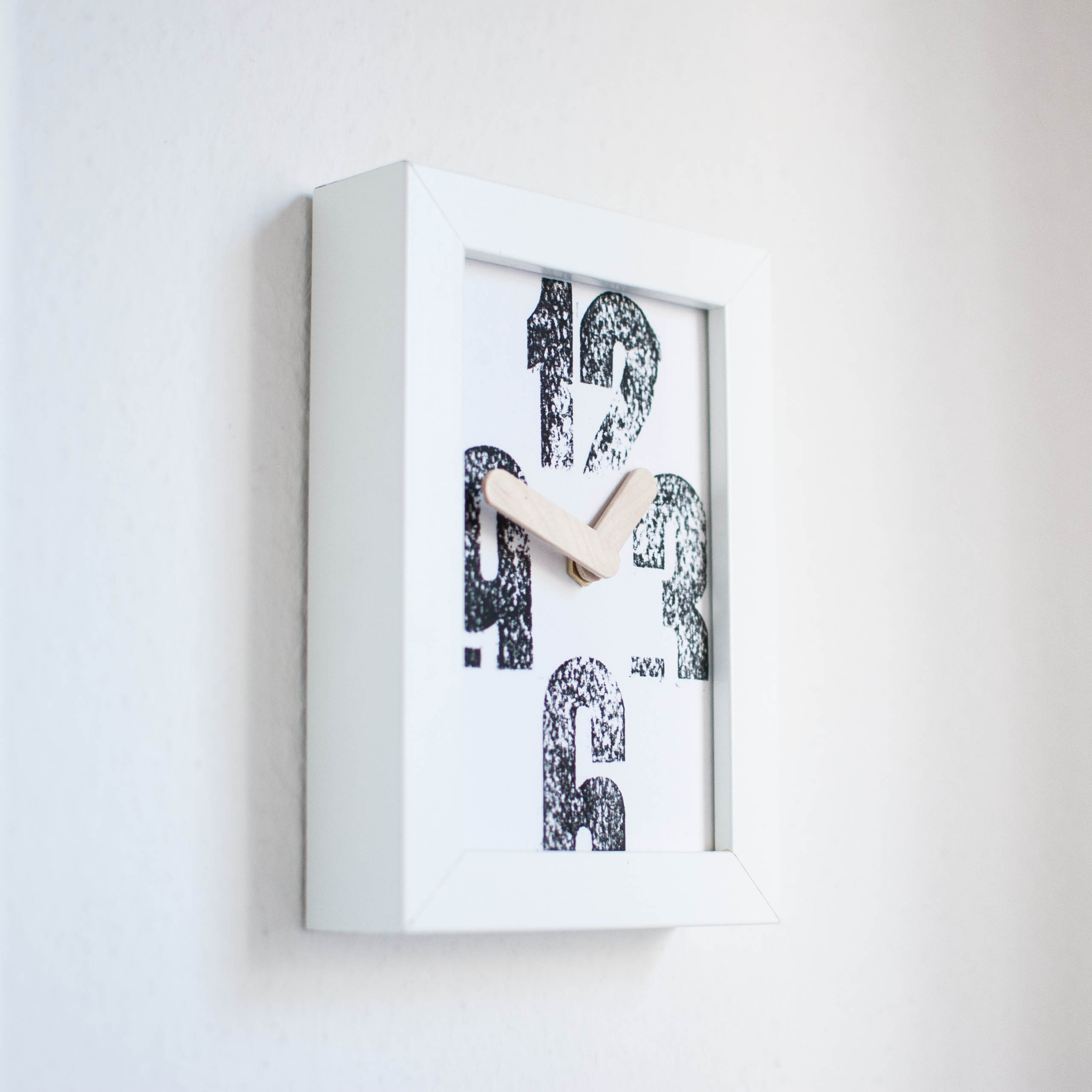 Rustic letterpress design clock handmade for Home decor and furniture